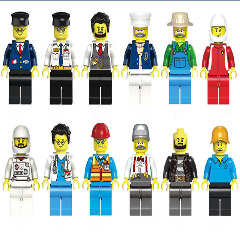 12 Pcs/set DIY Figures City PoliceMan Doctors Engineers astronauts Building Blocks Toys Kids Educational City Set Child gift купить