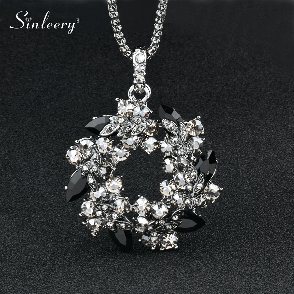 Luxury Vintage Black Cubic Zircon Flower Pendant Long Necklace For Women Black Snake Chain High Quality My344