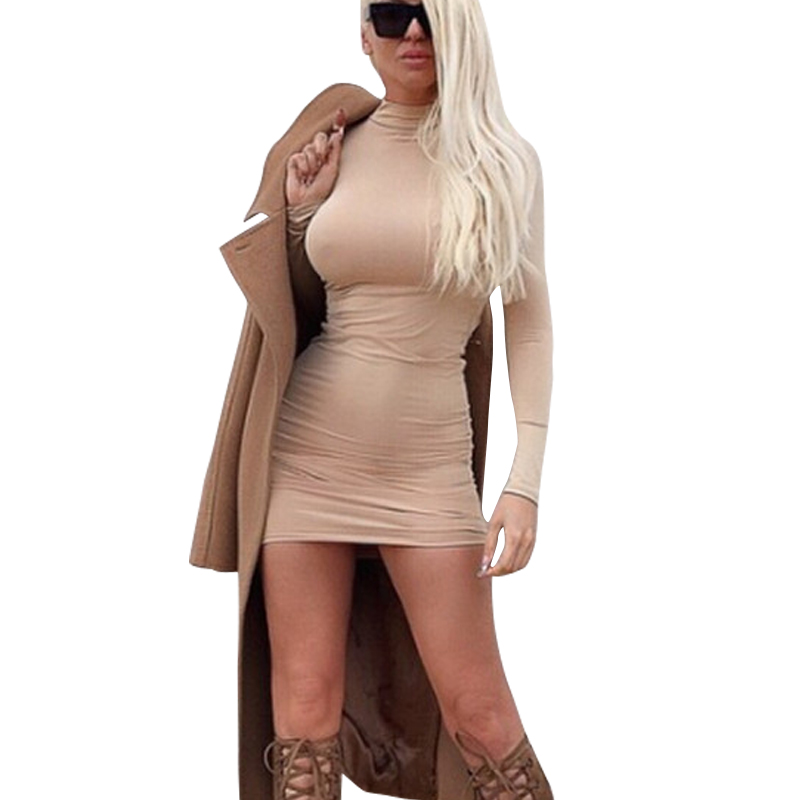 Night Club Wear Bandage Dress 2015 New Sexy Slim Hip Knitted Sweater Dress High Collar Long Sleeve Women T shirt Dress Vestidos
