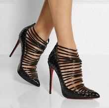 Mulheres Bombas Gladiador Sandálias mulheres Sexy Sapatos de Couro Genuíno Cut-Outs Botas Saltos Finos sapatos de Salto Alto Pontas Do Dedo Do Pé sapatos WomanC80