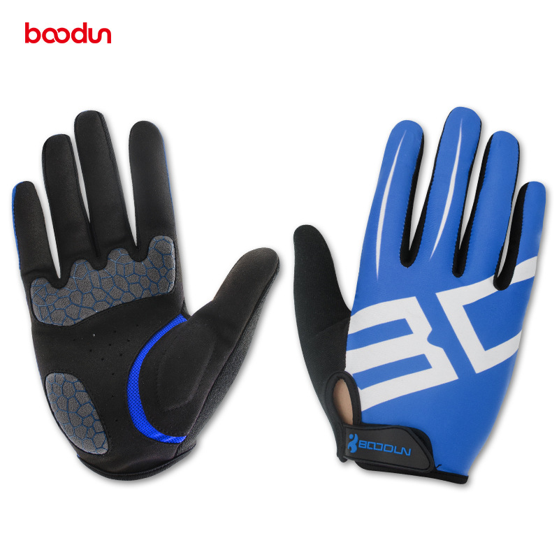 BOODUN Sports Bicycle font b Gloves b font Lycra Microfiber SBR Materials And Full Finger Riding