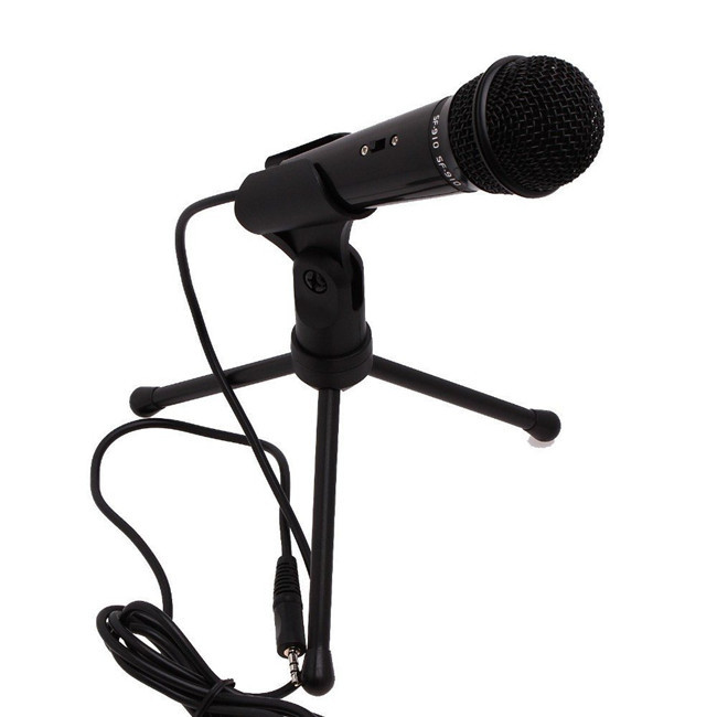 3 5mm Condenser Microphone Mic with Stand For PC Laptop