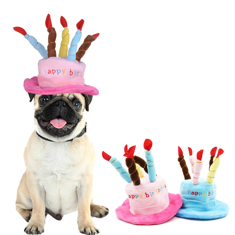 Cute Pets Dog Cats Birthday Caps Adjustable Corduroy Colorful Candles Small/Medium Dog Hat  Puppy Cats Cosplay Costume Headwear