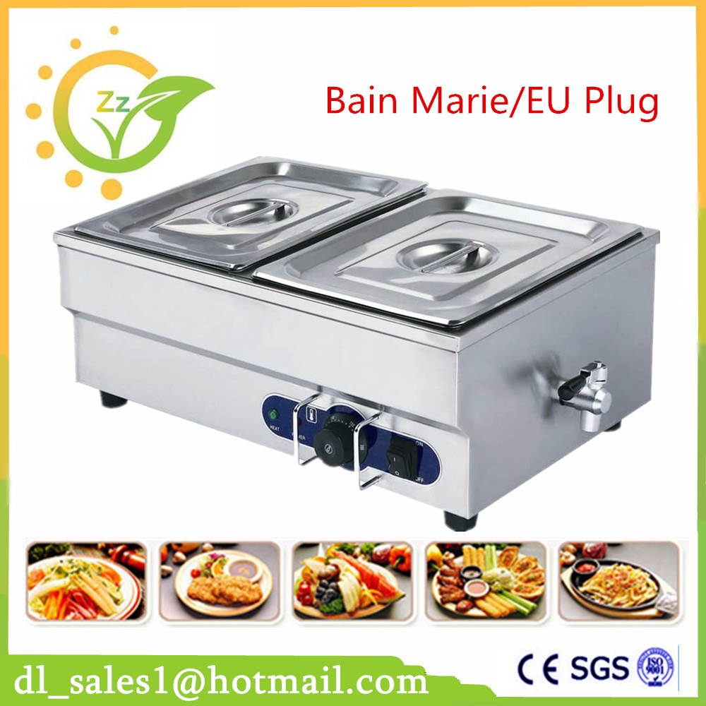 Commercial 2 Pans Bain Marie Food Warmer Countertop Soup Warmer Bain Marie Stainless Steel Electric Buffet Bain Marie With Fauce