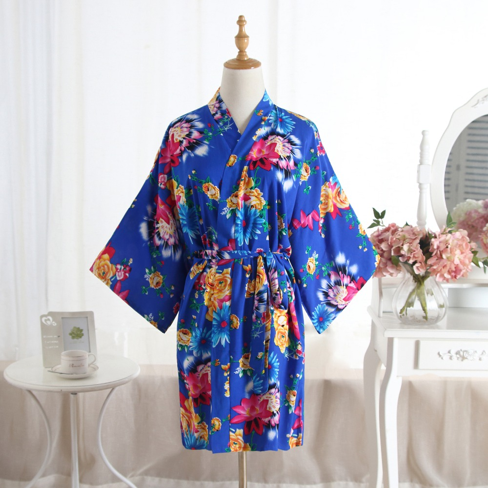 Hot Sale Cotton Wedding Party Bride Bridesmaid Robe Women Floral Bathrobe Kimono