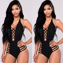 29e89fd2ae0e 2018 Nova Mulheres Cruz Bandage Swimwear Preto One-pedaço Swimsuit Bikini  Sexy Push Up Monokini Maiô natação Maillot De bain Fem.