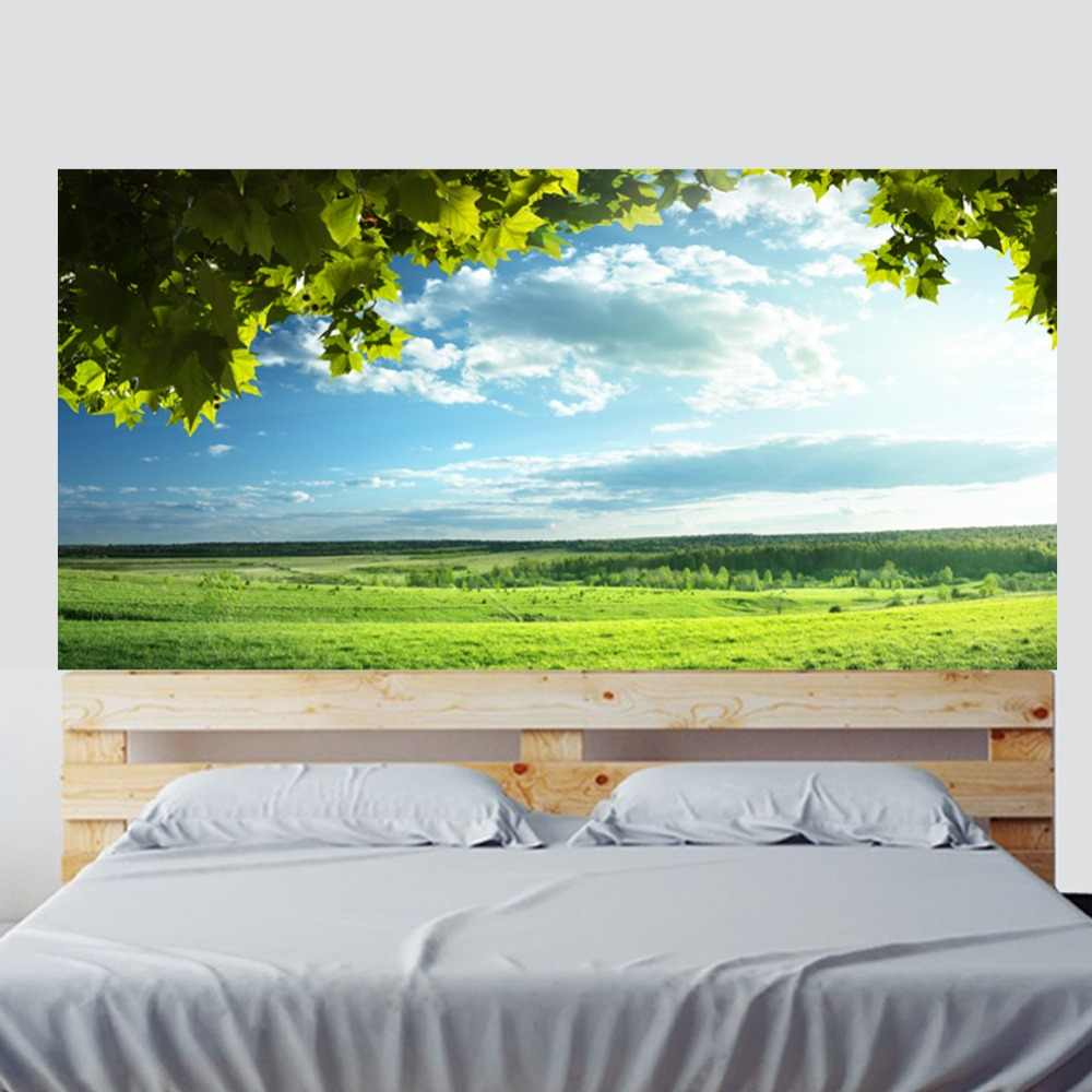 Зеленые деревья голубое небо кровать наклейка на изголовье стикер на стену s украшение дома DIY Дом, гостинная оформление спальни новый