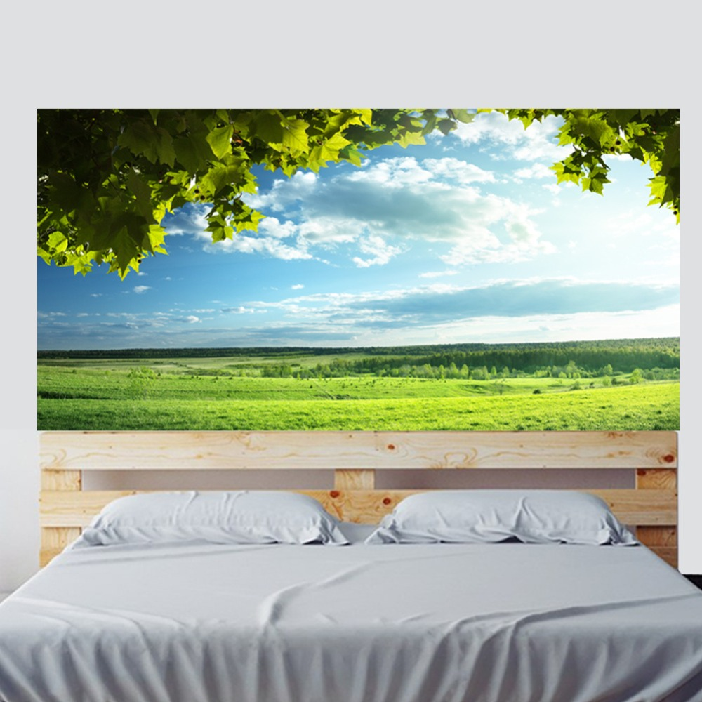 Image 4 - Green Trees Blue Sky Bed Headboard Sticker Wall Stickers Home Decoration DIY Household Living Room Bed Room Decoration New-in Wall Stickers from Home & Garden