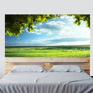 Image 4 - Yeşil ağaçlar mavi gökyüzü yatak başlığı etiket duvar çıkartmaları ev dekorasyon DIY ev oturma odası yatak odası dekorasyon yeni