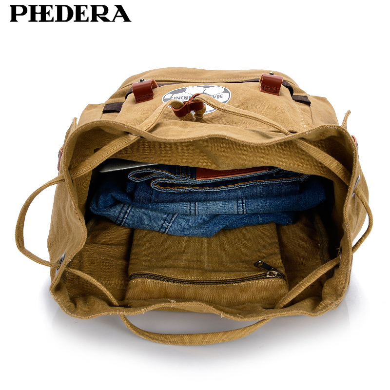 PHEDERA New Arrival Big Men Casual Backpacks Bag Large Canvas Travel Backpack Male Shoulder Bags in Backpacks from Luggage Bags