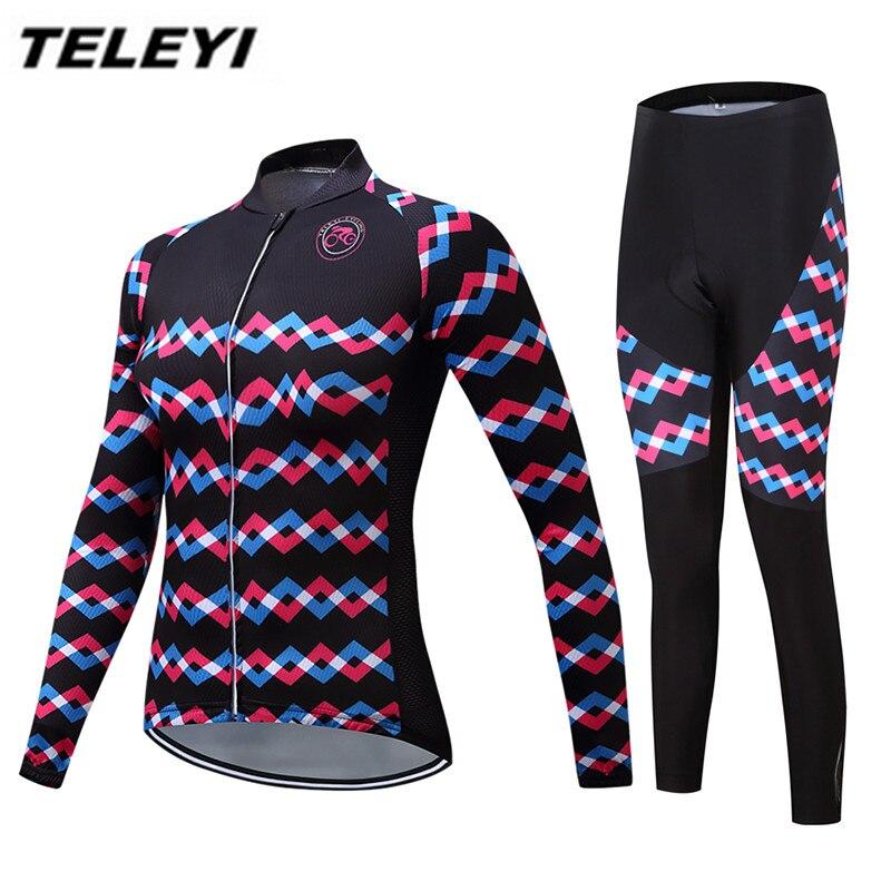 Red Cycling Jersey MTB Bike jersey Bib Pants Set Women Cycling clothing Suit Ropa Ciclismo trouser Riding Long Sleeve Top Bottom