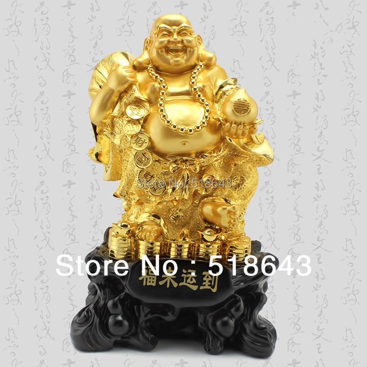 Uśmiechnięte Buddha artykuły wyposażenia wnętrz pozłacane - Wystrój domu - Zdjęcie 2