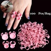 100pcs ורוד איפור קבוע טבעת בינוני לא מחיצת קעקוע דיו גבות שפתיים קעקוע פיגמנטים מחזיק טבעות מיכל /כוס