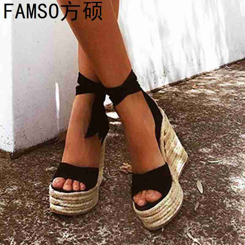 FAMSO 2019 New Shoes Women Sandals Black Pink Lace up Peep toe Summer Wedges High Heels
