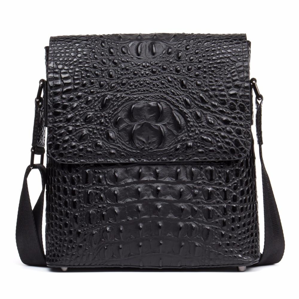64a99f7b6942 DANJUE New Style Genuine Leather Shoulder Bag Mens Flap Canta Unique  Alligator Small Size IPAD Crossbody Messenger Bags Men D207