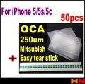 50pcs for Mit for formitsu 250um OCA for iPhone 5 5s 5c 5G film for repair broken LCD touch screen  oca laminator