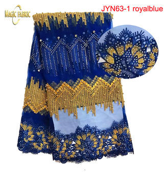 High Quality African French Net Lace Fabric With Rhinestones African Tulle Net Lace Fabric beaded For Dress   JYN63