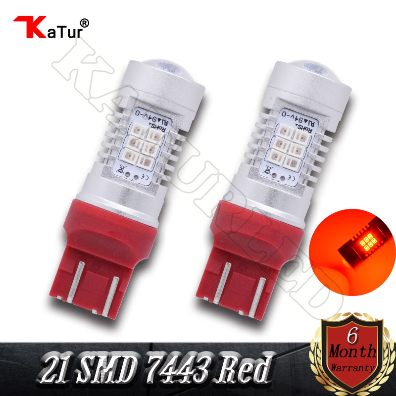 2x T20 7443 580 High Power 80w Extremely Bright 21 SMD 2835 Chips W21/5W Lens LED Bulbs with Projector For Brake Light Red Color