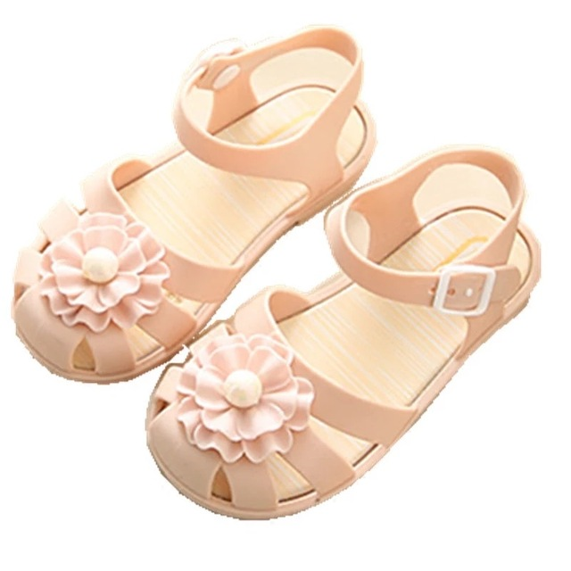 Mini Melissa 2018 New Pearl Flower Girl Jelly Sandals Roman Girl Sandals  Breathable Melissa Shoes Toddler Sandals 14.5-17cm 59d6ffc43f16
