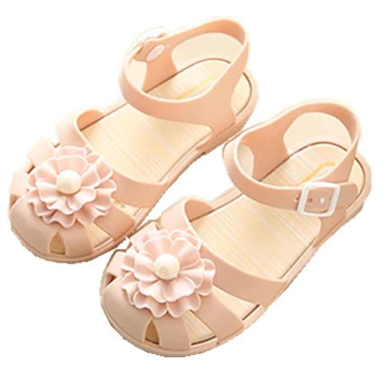 Mini Melissa 2018 New Pearl Flower Girl Jelly Sandals Roman Girl Sandals  Breathable Melissa Shoes Toddler a67980142afd