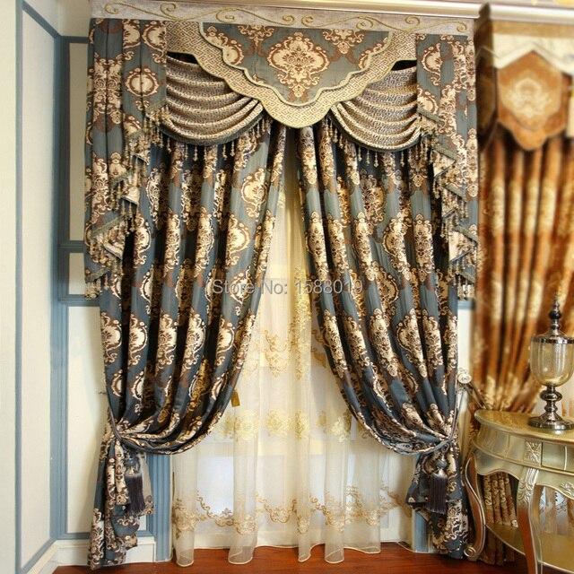 Free shipping Modern European luxury dark blue curtains for bedroom ...