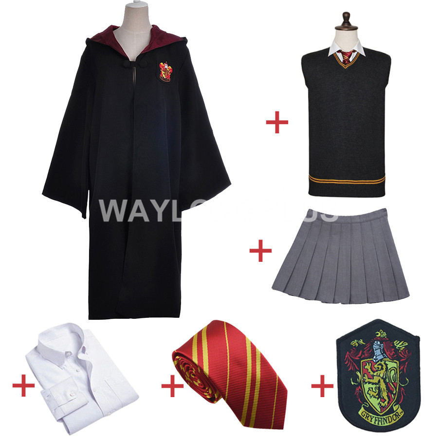 Harry Potter Gryffindor Uniform Hermione Granger Cosplay Costume Adult Version Cotton Halloween Party New Gifts