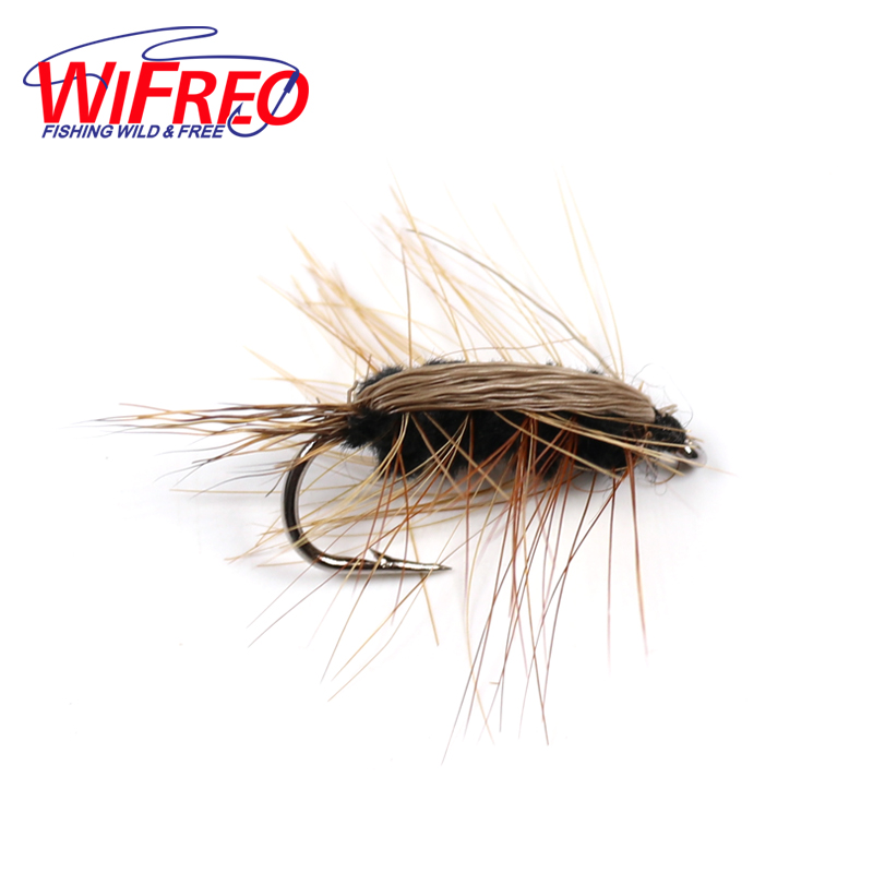 Wifreo 10PCS #6 Black Body Woolly Worm Brown Caddis Nymph Fly Deer Hair Beetle Trout Fly Fishing Lure Bait mnft 10pcs 6 brown color deer hair gold body muddler minnow fly bass fishing lure steamers trout streamer flies
