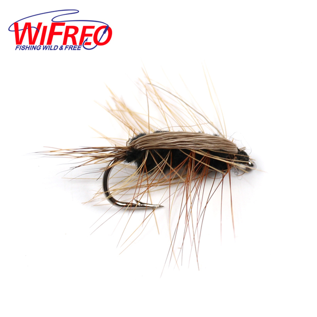 Cheap Wifreo 10PCS #6 Black Body Woolly Worm Brown Caddis Nymph Fly Deer Hair Beetle Trout Fly Fishing Lure Bait