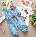 Бесплатная доставка лето девочка сладкий hello kitty знатных шорты хлопок точка подтяжки капри