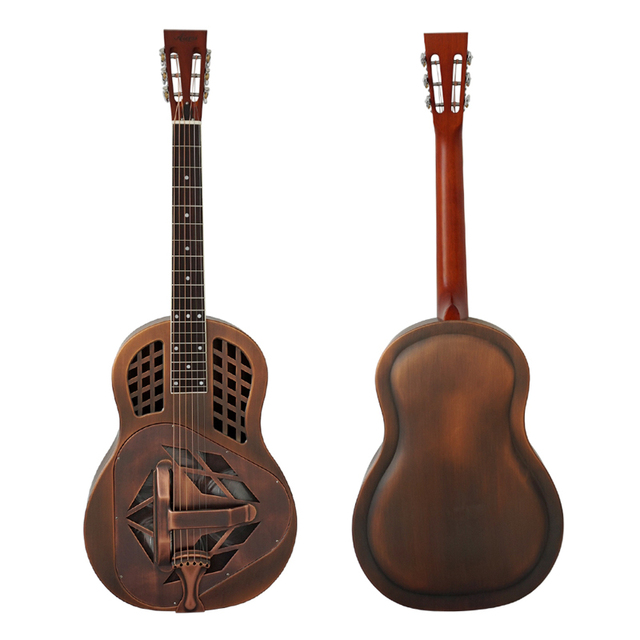 Aiersi Brand Antique Red Rust Bell Brass Metal Tricone Resonator Guitar Free Case and Strap
