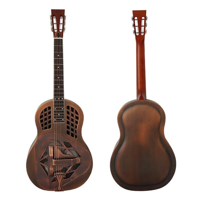 Aiersi Marque Antique Rouge Rouille Cloche En Laiton Métal Tricone Résonateur Guitare Cas Libre et Sangle