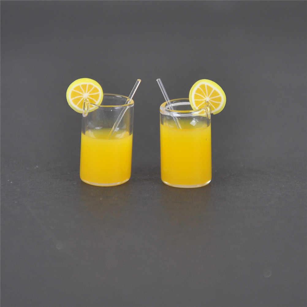 2 قطعة/الوحدة صغيرة الراتنج الليمون كوب ماء هدية صغيرة الديكور دمية اكسسوارات الكؤوس لعبة 1:12 دمية مصغرة