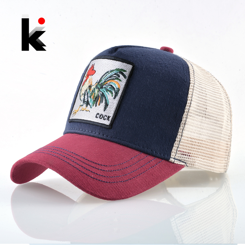 New Baseball Caps Rooster Embroidery Hip Hop Hats Men Snapback Breathable Mesh Bones Fashion Streetwear Cock Trucker Cap Women