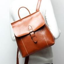 New Women Vintage backpack Oil wax cowhide backpack ladies Ancient backpack bag Female escolar mochilas