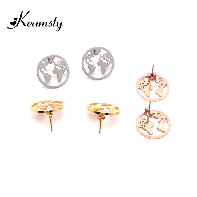 Keamsty Trendy Earrings Stainless Steel Travel Gift World Map Earring Stud Continent Globetrotte