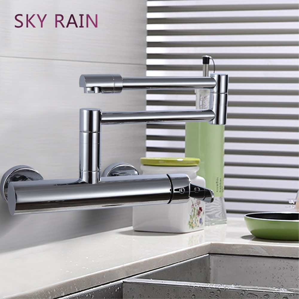 SKY RAIN New Design Folding Kitchen Sink Faucet Single Handle Shower Faucet Sets  Waterfall Mixer Tap Accessories
