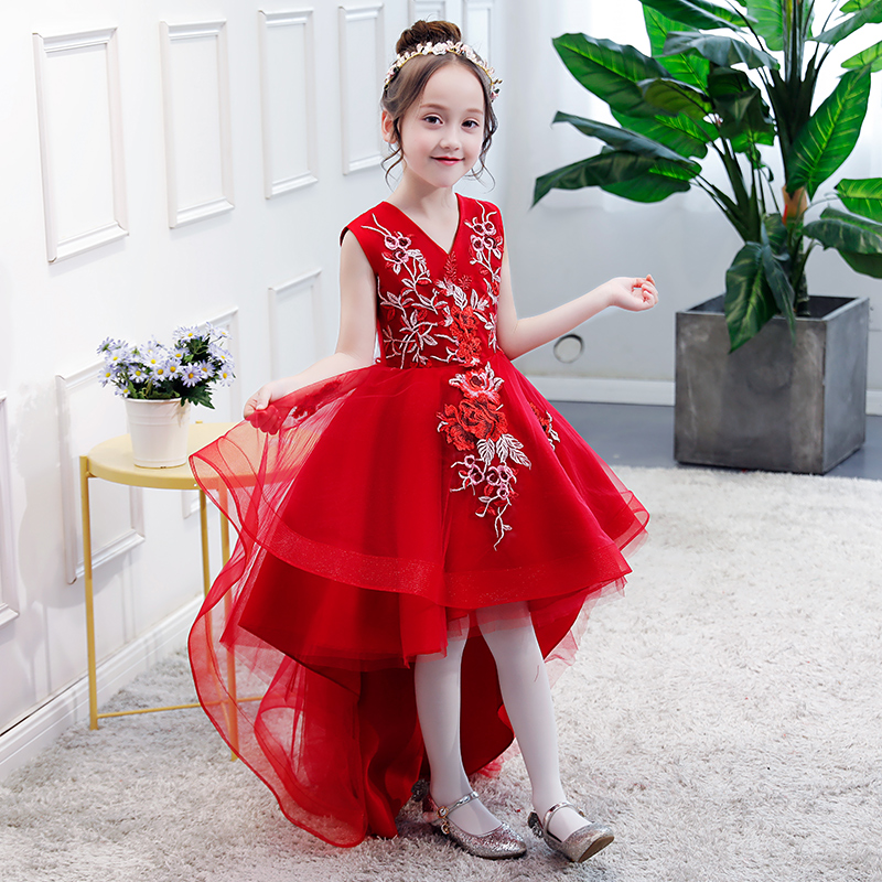 Red Flower Girl Dresses Wedding Appliques Ball Gown Kids Pageant Dress for Birthday V-neck Short Front Long Back Girl Prom Dress