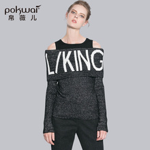 POKWAI High Quality Brand Clothing Casual Letter Knitted Sweater Women Full Sleeve Slash Neck Winter Sweaters and Pullovers