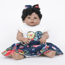 Lifelike 22inch Silicone Reborn African American Doll Newborn Baby Girl Doll - Hand-drawn Nails,Acrylic Brown Eyes,Open Nostrils(China)