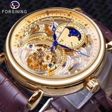 Forsining יוקרה זהב שלד תצוגת כחול ידיים חום אמיתי חגורת עור גברים מכאני שעוני יד עמיד למים שעון זכר