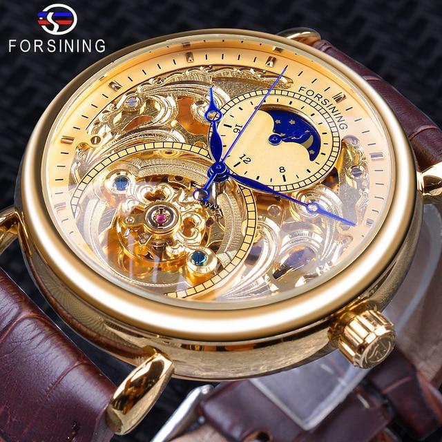 Forsining الفاخرة الذهبي الهيكل العظمي عرض الأزرق الأيدي براون حزام جلد طبيعي الرجال الميكانيكية المعصم ساعة مقاوم للماء الذكور