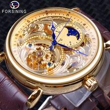 Reloj de pulsera Forsining de lujo con diseño de esqueleto dorado, manos azules, marrón, correa de cuero genuino, relojes de pulsera mecánicos para hombres, reloj impermeable para hombre