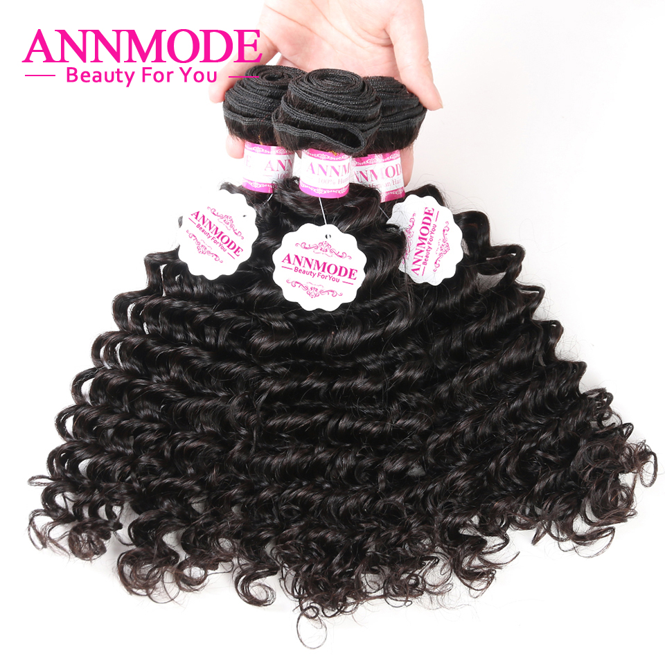[Annmode] Malaysian Deep Wave Bundles Hair Free Shipping Natural Color 100g 1/3 Pcs Non- ...
