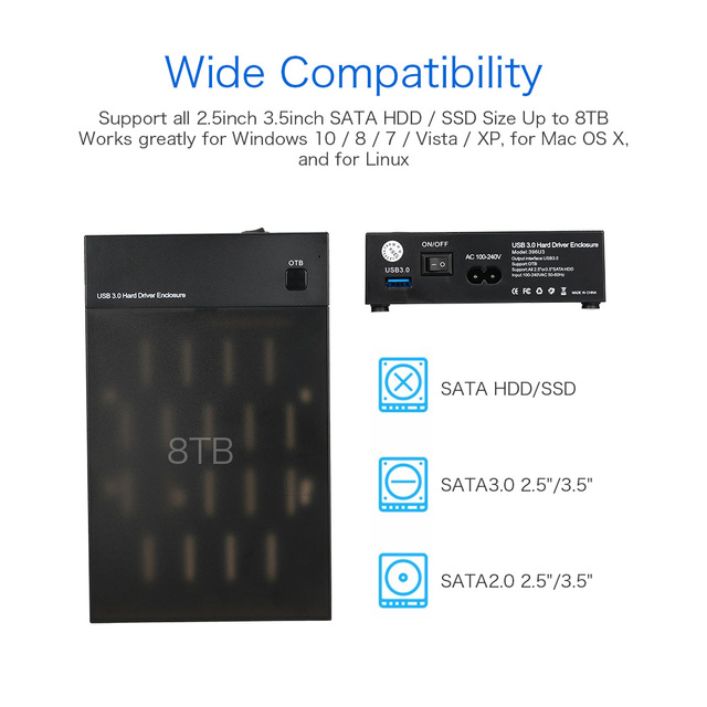"USB 3,0 2,5 ""3,5"" SATA 5Gbps Disco Duro recinto externo SSD Carcasa de disco duro soporte UASP caja 8TB Drives OTB Caddy funda"