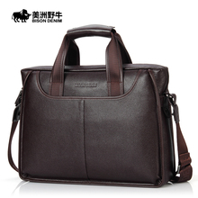 2016 BISON DENIM Brand Handbag Men Genuine Leather Shoulder Bags Business Travel Messenger Bag Tote Bag Cowhide Men's Briefcase
