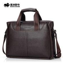 2016 BISON DENIM Brand Handbag Men Genuine Leather Shoulder Bags Business Travel Messenger Bag Tote Bag Cowhide Men's Briefcase