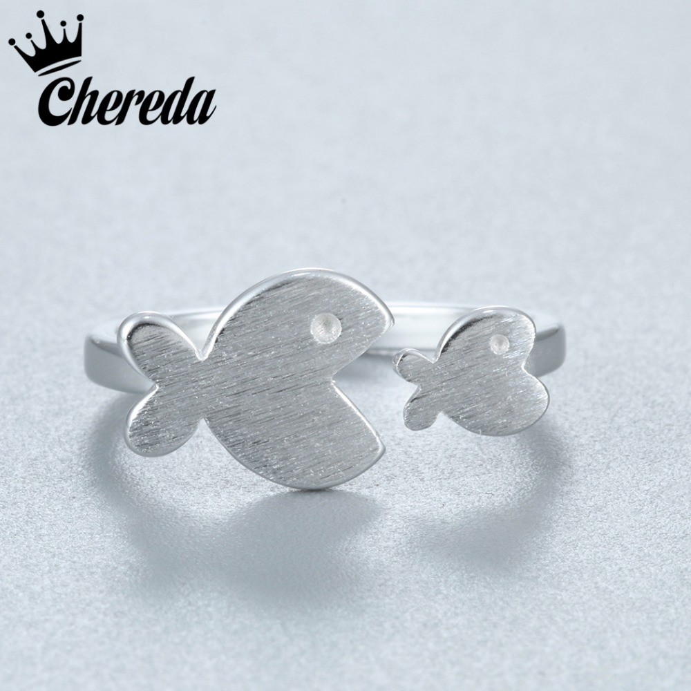 Chereda New Charms Silver Color Lovely Cute Fish Shape Women Jewelry Adjustable Knuckle Midi Pinkie Toe Ring