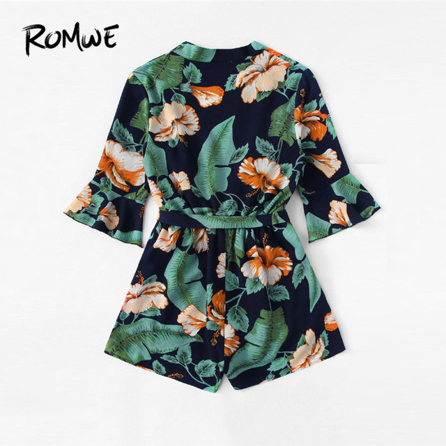 ROMWE Fluted Sleeve Floral Print Surplice Romper With Belt Women Summer Vocation Three Quarter Floral V neck Romper 2
