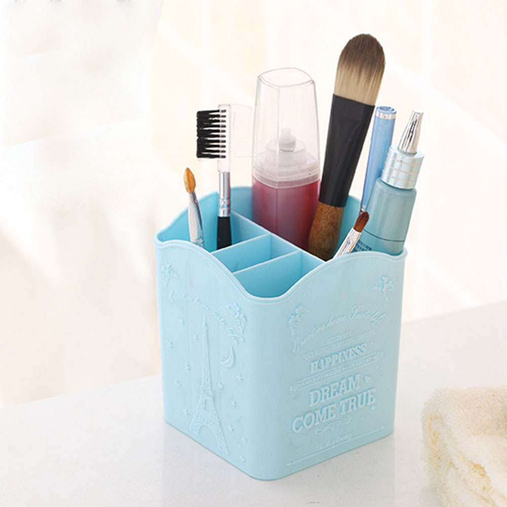 Cosmetic Brushes Pens Storage Holder Box 4 Compartments Tower Brush Organizer Makeup Table Box Cosmetic Case Accessories&Props