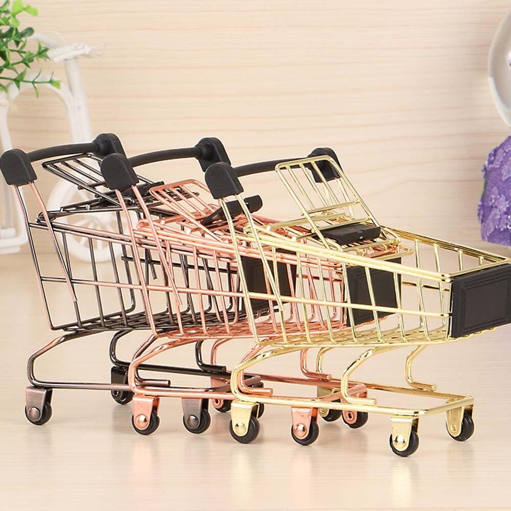 cac8937b4 Nordic Chic Ins Mini Shopping Cart Storage Basket Model Wrought Iron  Supermarket Trolley Vogue Metal Rose Gold Storage Basket